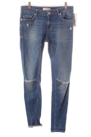 Zara Skinny Jeans blau Destroy-Optik