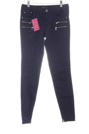 Zara Skinny Jeans dunkelblau Biker-Look
