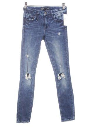 Zara Skinny Jeans dunkelblau Destroy-Optik