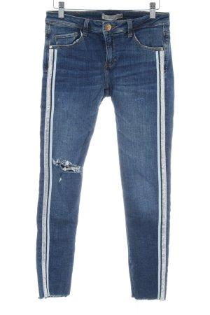 Zara Skinny Jeans dunkelblau Glitzer-Optik