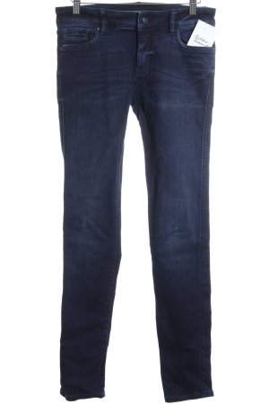 Zara Skinny Jeans dunkelblau Washed-Optik