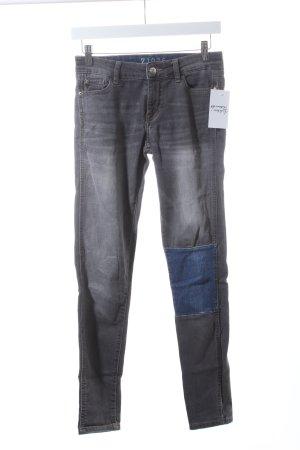 Zara Skinny Jeans grau-blau Patchwork-Optik