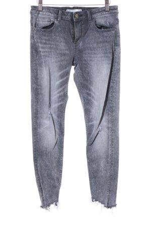 Zara Skinny Jeans grau Destroy-Optik