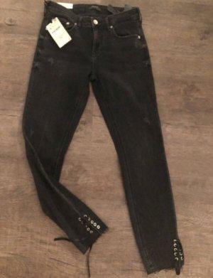 ZARA Skinny Jeans Größe 38 neu schwarz UvP 39€