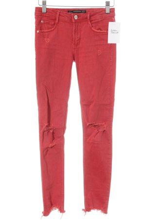 Zara Skinny Jeans hellrot Destroy-Optik