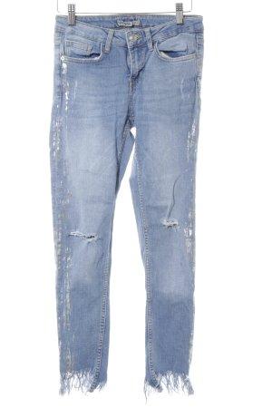 Zara Skinny Jeans himmelblau-silberfarben Farbverlauf Casual-Look