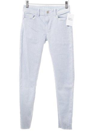 Zara Skinny Jeans himmelblau-weiß Streifenmuster Marine-Look
