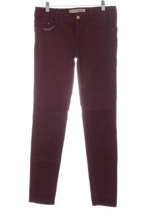 Zara Skinny Jeans karminrot Casual-Look