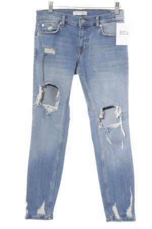 Zara Skinny Jeans kornblumenblau Casual-Look
