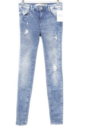 Zara Skinny Jeans kornblumenblau Destroy-Optik
