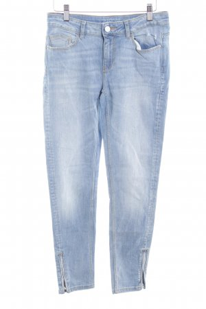Zara Skinny Jeans kornblumenblau Washed-Optik