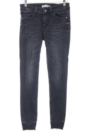 Zara Skinny Jeans schwarz Destroy-Optik