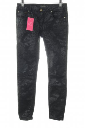 Zara Skinny Jeans schwarz-grau florales Muster Casual-Look
