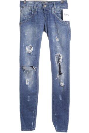 Zara Skinny Jeans stahlblau Destroy-Optik