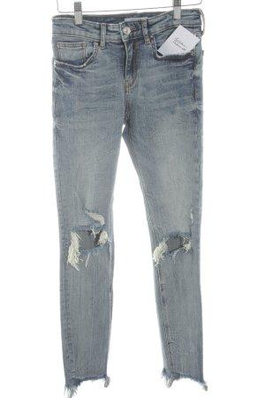Zara Skinny Jeans stahlblau Used-Optik