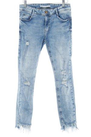 Zara Skinny Jeans wollweiß-dunkelblau Used-Optik