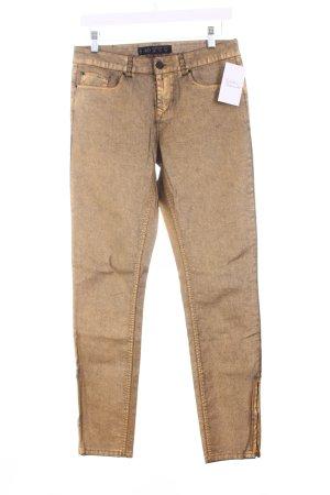 Zara Slim Jeans goldfarben Logo-Applikation aus Leder