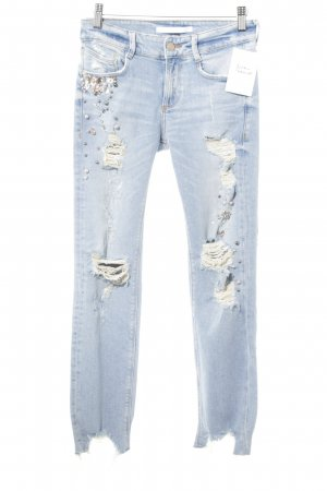 Zara Slim Jeans himmelblau Destroy-Optik