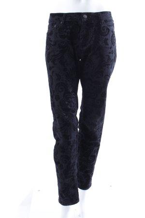 Zara Slim Jeans schwarz mit Ornamenten