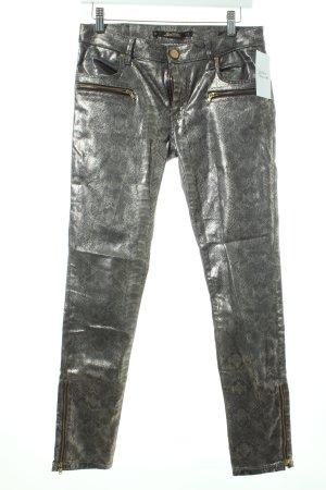 Zara Slim Jeans silberfarben Glitzer-Optik