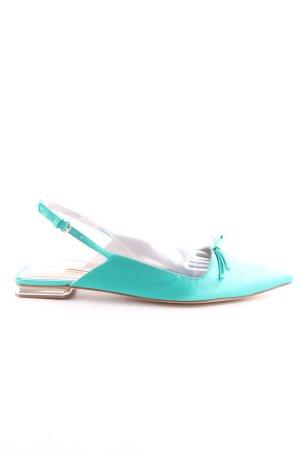 Zara Slingback Ballerinas turquoise casual look