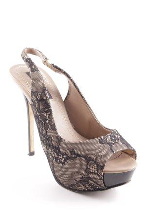 Zara Slingback-Pumps beige-schwarz Elegant