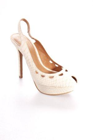 Zara Slingback-Pumps creme-beige Animalmuster