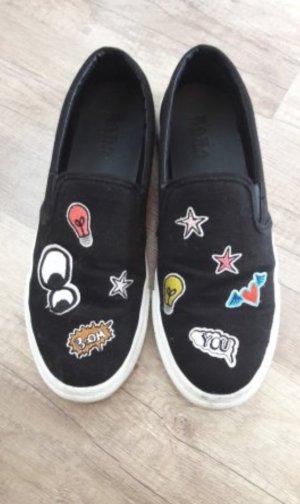 Zara Slipons Slipon Sneaker Low Slippee Canvas Patches Sticker