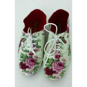 Zara Slipper Flower Blumen Rosen Stoffschuhe Schuhe Ballerinas