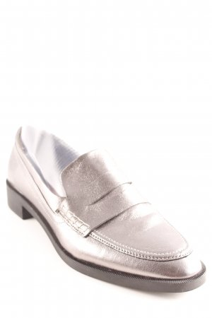 Zara Slipper silberfarben Business-Look