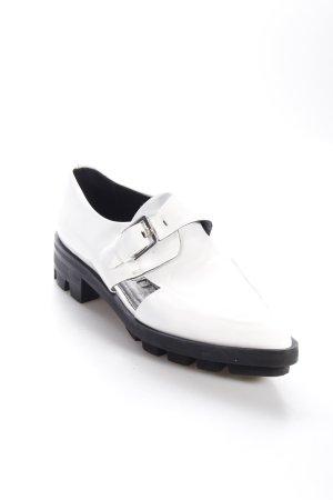 Zara Slipper weiß-schwarz Glanz-Optik