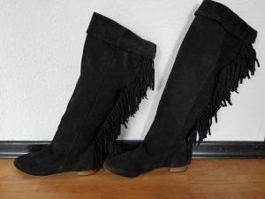 Zara Bottes plissées noir cuir