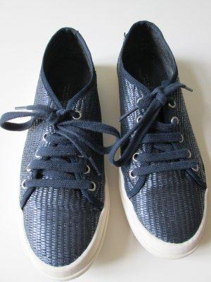 Zara Sneaker aus dunkelblauem Bast Gr.36