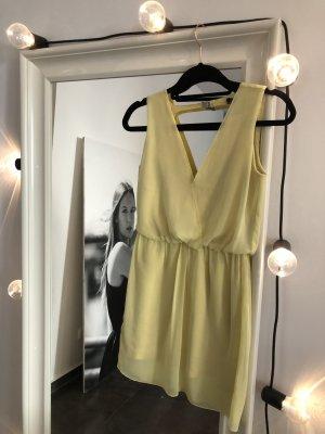 ZARA Sommer Kleid Pastell Gelb mit Rückendetail Gr XS V-Neck