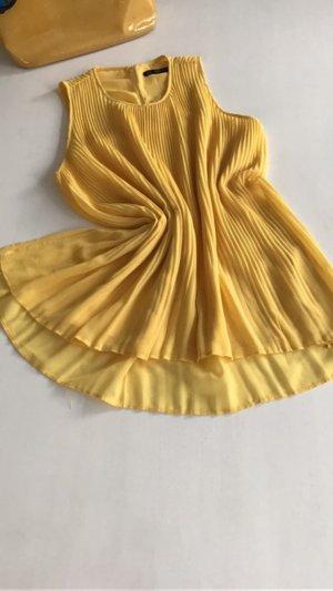 ZARA Sommer Tunika Bluse plissiert Plissee knallig gelb S 36