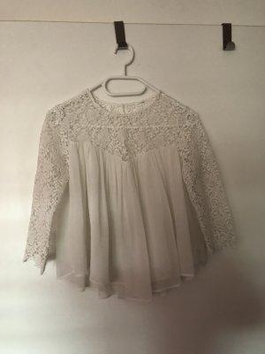 Zara Kanten blouse wit