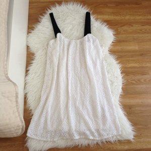 ZARA Sommerkleid Kleid mit Spitze S Weiß Hängerchen Strandkleid