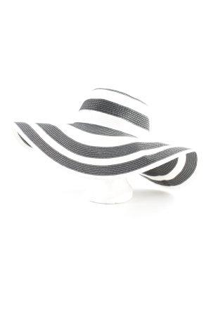 Zara Sombrero de ala ancha negro-blanco estampado a rayas Estilo playero