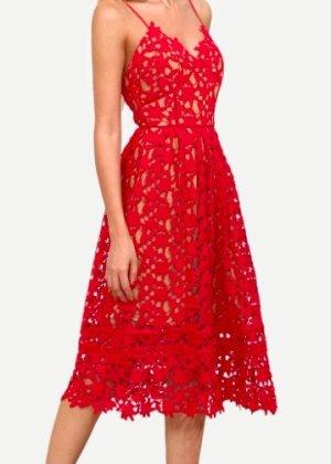 Zara Robe de cocktail rouge coton