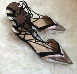 Zara spitze Flats silber nude schwarz Schnür Ballerinas Blogger Schnürung Lace up