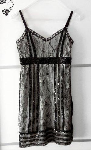 Zara Spitzen Kleid mit schwarzen Pailletten Gr. M