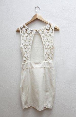 Zara Spitzen Kleid weiss enges Kleid Minikleid mit Rückenfrei Gr.S neu