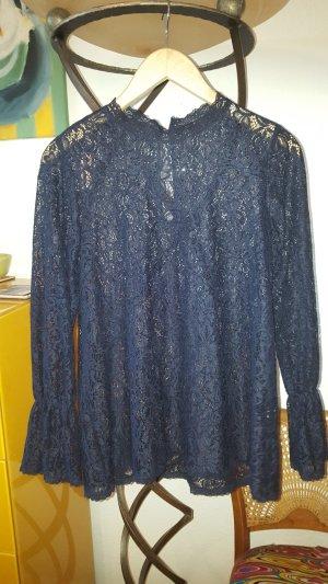 Zara Blusa in merletto blu scuro