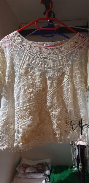 Zara Blusa transparente crema
