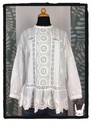 Zara Woman Lace Blouse white cotton