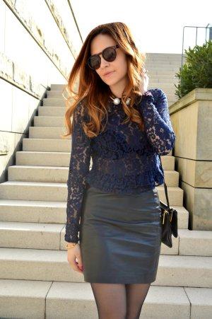 Zara Spitzenbluse, blau