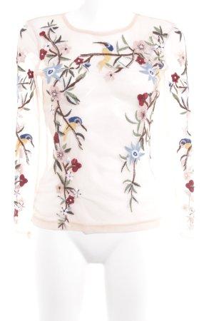 Zara Spitzenbluse rosé Blumenmuster Transparenz-Optik