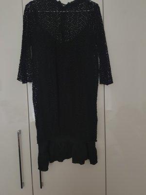Zara Vestido de encaje negro Algodón