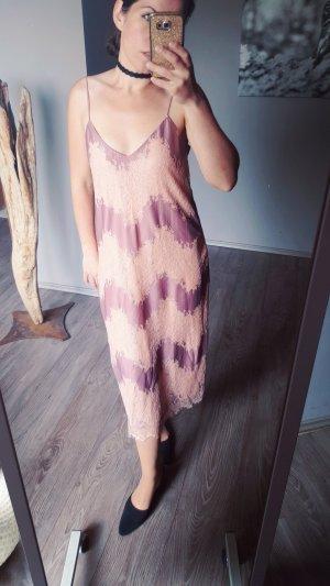 Zara Spitzenkleid Gr M Maxikleid Abendkleid edel Kleid Midikleid Spitze Nude Altrosa Neu