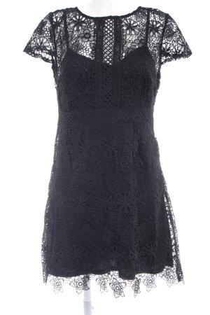 Zara Vestido de encaje negro estampado floral elegante